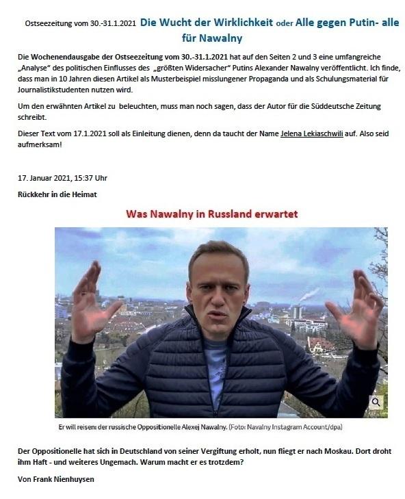 Die Wucht der Wirklichkeit  Nawalny in Russland - Ostsee-Zeitung vom 30.-31.1.2021 -  Aus dem Posteingang von Siegfried Dienel vom 31.01.2021 - PDF