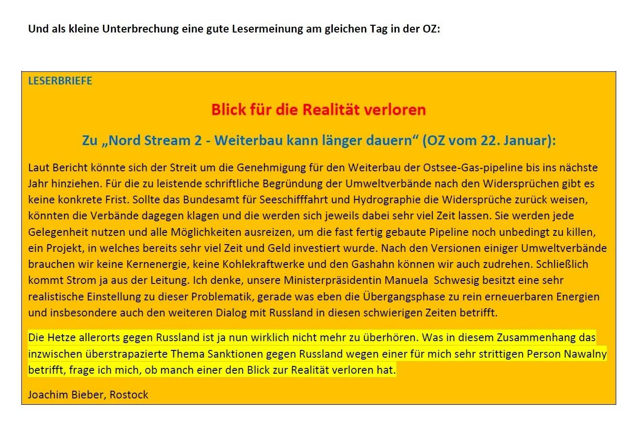 Blick für die Realität verloren - Zu 'Nord Stream2 - Weiterbau kann länger dauern' (OZ vom 22. Januar 2021) -  Leserbrief von Joachim Bieber aus Rostock an die OZ - Aus dem Posteingang von Siegfried Dienel vom 31.01.2021 - PDF