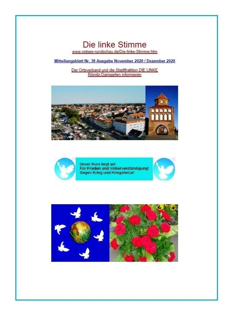 Die linke Stimme Mitteilungsblatt Nr. 38 Augabe November 2020 / Dezember 2020