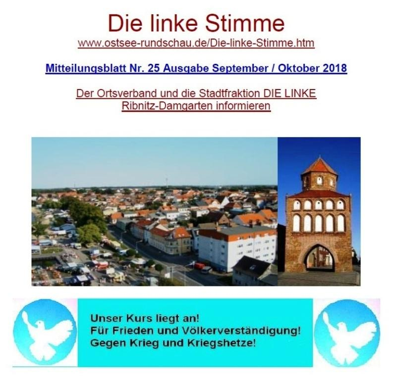 Die linke Stimme - Mitteilungsblatt Nr. 25 - Ausgabe September 2018 / Oktober 2018 mit Beitrag zur Sammlungsbewegung
