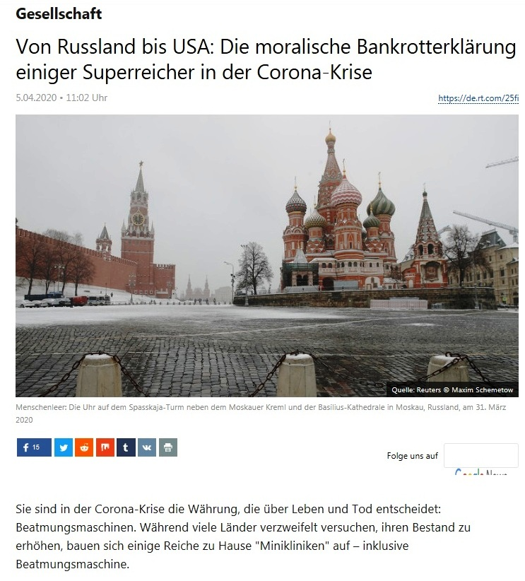 Gesellschaft - Von Russland bis USA: Die moralische Bankrotterklärung einiger Superreicher in der Corona-Krise  - RT Deutsch - 5.04.2020