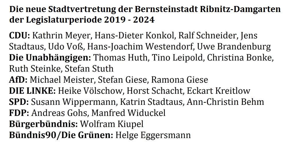 Die neue Stadtvertretung der Bernsteinstadt Ribnitz-Damgarten für die Legislaturperiode von 2019 bis 2024