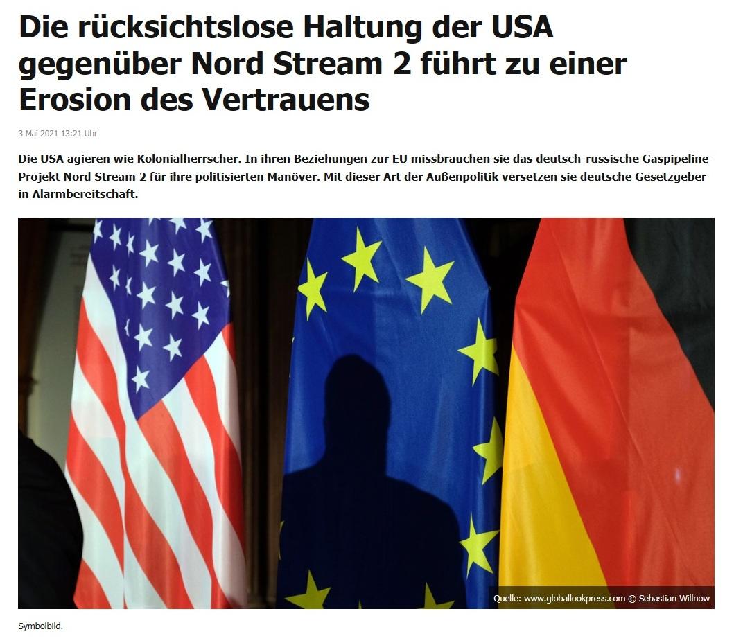 Die rücksichtslose Haltung der USA gegenüber Nord Stream 2 führt zu einer Erosion des Vertrauens -  RT DE - 3 Mai 2021 13:21 Uhr
