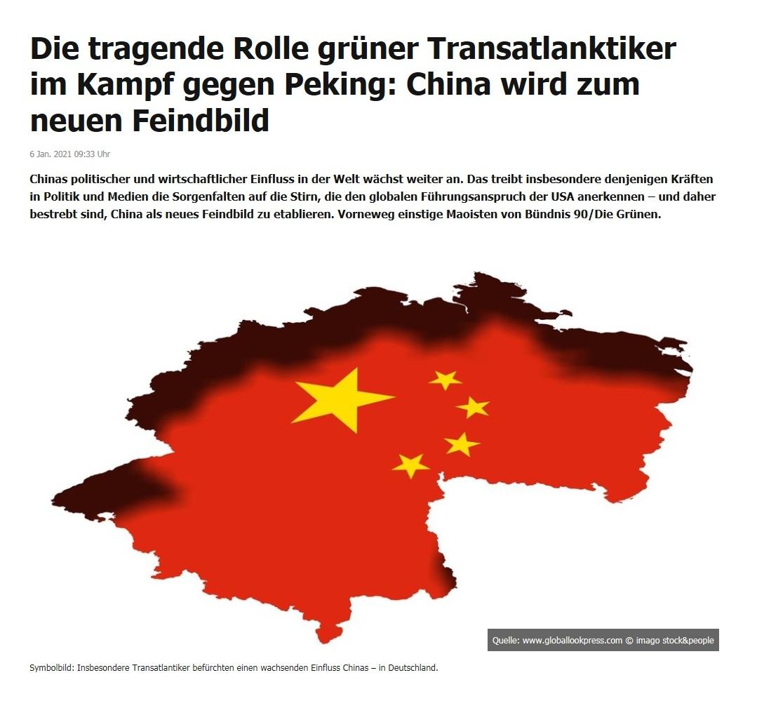 Die tragende Rolle grüner Transatlanktiker im Kampf gegen Peking: China wird zum neuen Feindbild - RT DE - 6 Jan. 2021 09:33 Uhr