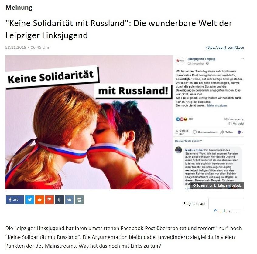 Meinung - 'Keine Solidarität mit Russland': Die wunderbare Welt der Leipziger Linksjugend