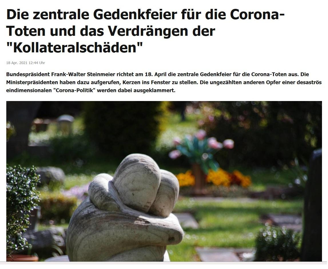 Die zentrale Gedenkfeier für die Corona-Toten und das Verdrängen der 'Kollateralschäden' -  RT DE -  18 Apr. 2021 12:44 Uhr