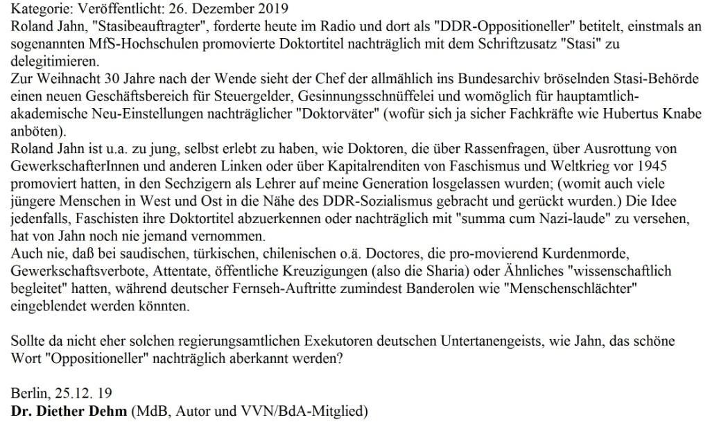 Aus dem Posteingang -  Dr. Diether Dehm, Mitglied des Deutschen Bundestages, fragt Jahn nach 'doctores summa cum Nazi-laude' - Dr. Diether Dehm (MdB, Autor und VVN/BdA-Mitglied)