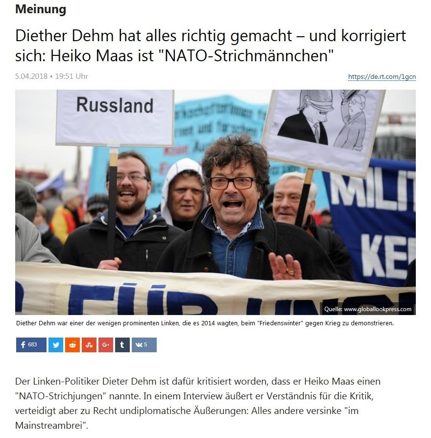 Meinung - Diether Dehm hat alles richtig gemacht – und korrigiert sich: Heiko Maas ist 'NATO-Strichmännchen'