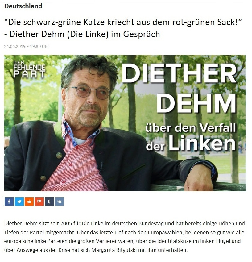 Deutschland - 'Die schwarz-grüne Katze kriecht aus dem rot-grünen Sack!' - Diether Dehm (Die Linke) im Gespräch