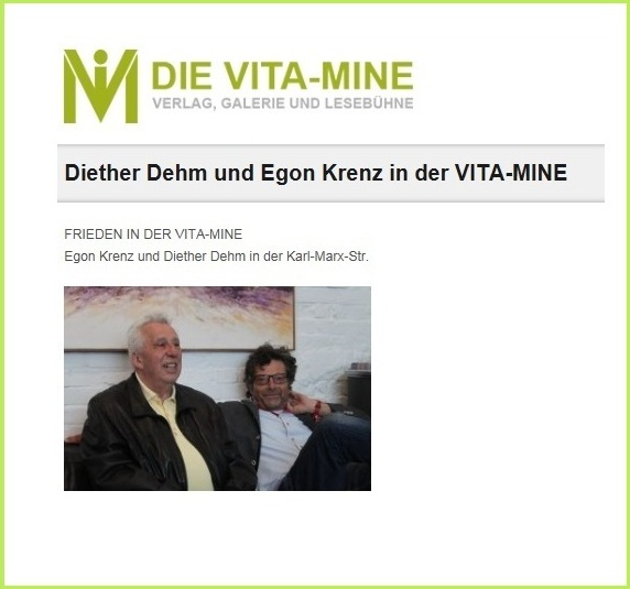 Diether Dehm und Egon Krenz in der VITA-MINE - FRIEDEN IN DER VITA-MINE - Egon Krenz und Diether Dehm in der Karl-Marx-Str.