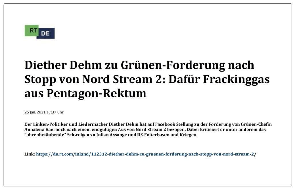 Diether Dehm zu Grünen-Forderung nach Stopp von Nord Stream 2: Dafür Frackinggas aus Pentagon-Rektum - RT DE - 26 Jan. 2021 17:37 Uhr