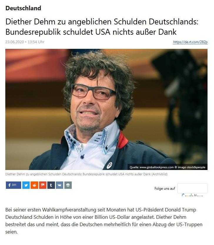 Deutschland - Diether Dehm zu angeblichen Schulden Deutschlands: Bundesrepublik schuldet USA nichts außer Dank - RT Deutsch - 23.06.2020