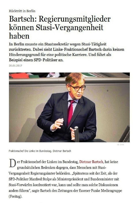 Frankfurter Allgemeine - Dietmar Bartsch: Regierungsmitglieder können Stasi-Vergangenheit haben