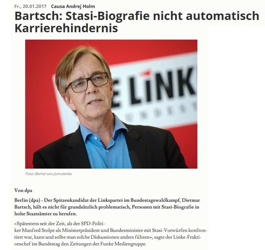 Westfalen-Blatt - Dietmar Bartsch: Stasi-Biografie nicht automatisch Karrierehindernis