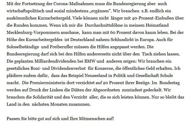 Aus dem Posteingang - Dr. Dietmar Bartsch - Abgeordneter des Bundestages - Fraktion DIE LINKE: Viel Kanzlerkandidatenduell und eine Hängepartie - Facebook - 17.04.2020