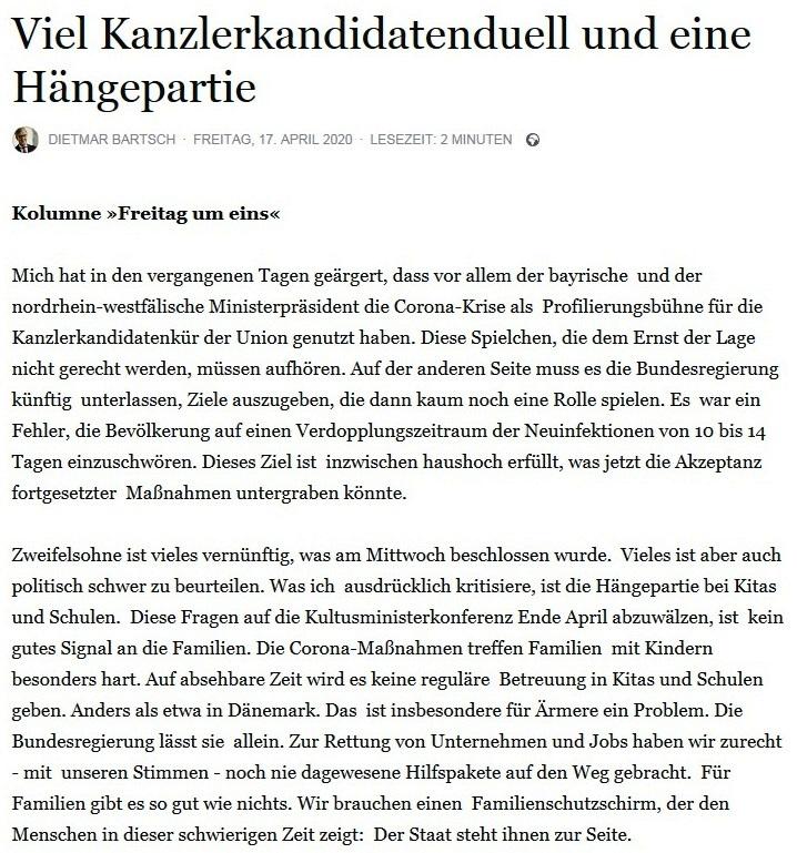 Aus dem Posteingang - Dr. Dietmar Bartsch: Viel Kanzlerkandidatenduell und eine Hängepartie - Facebook - 17.04.2020