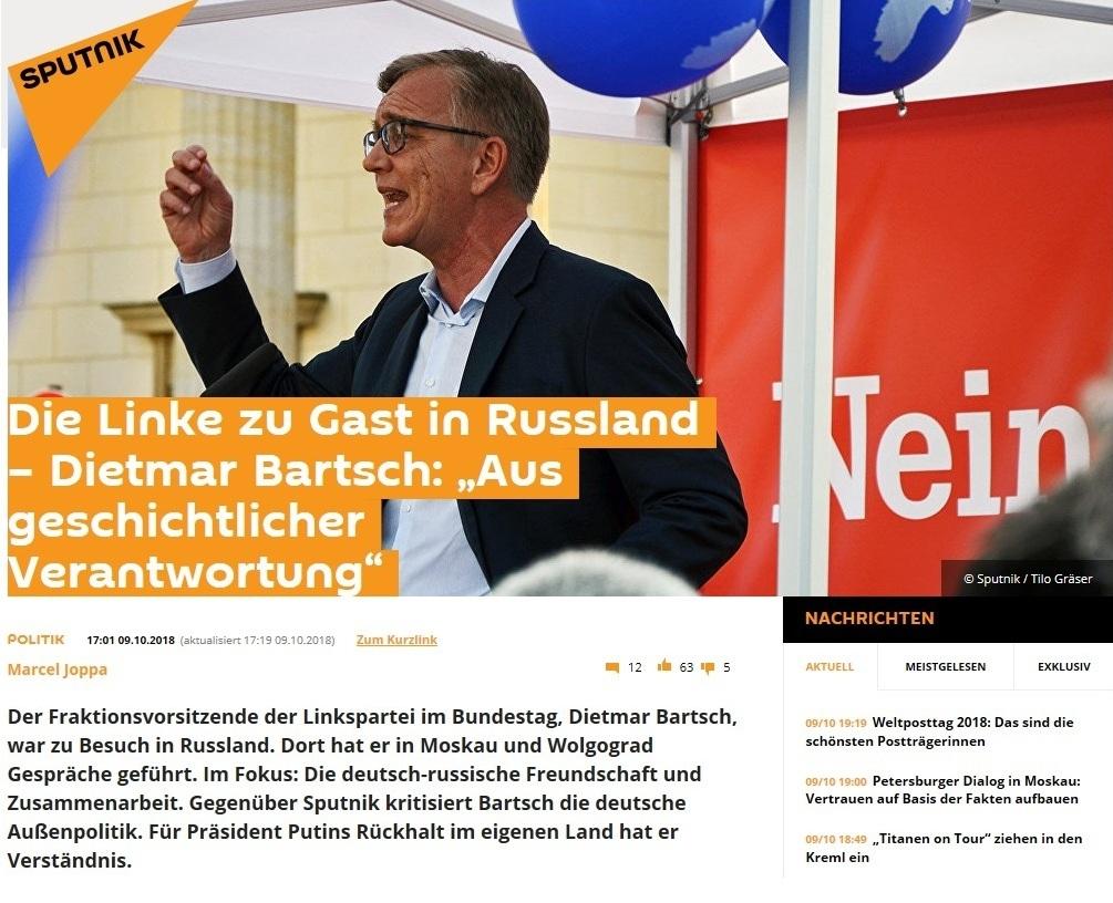 Die Linke zu Gast in Russland – Dietmar Bartsch: 'Aus geschichtlicher Verantwortung'