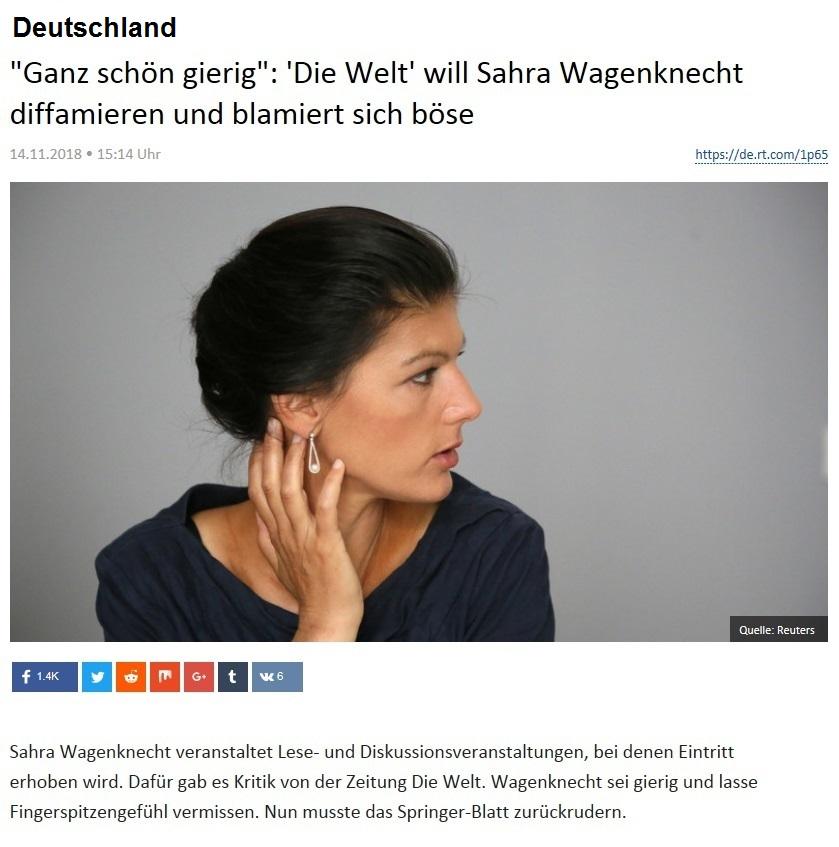 Deutschland - 'Ganz schön gierig': 'Die Welt' will Sahra Wagenknecht diffamieren und blamiert sich böse