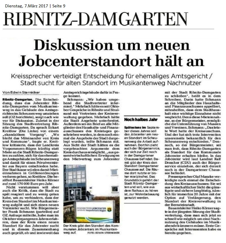 Diskussion um neuen Jobcenterstandort in Ribnitz-Damgarten - Beitrag in der Ostsee-Zeitung vom 7.März 2017
