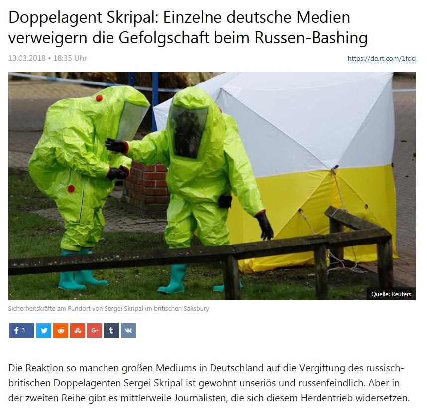Doppelagent Skripal: Einzelne deutsche Medien verweigern die Gefolgschaft beim Russen-Bashing