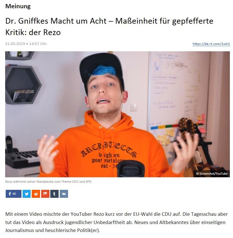 Meinung - Dr. Gniffkes Macht um Acht – Maßeinheit für gepfefferte Kritik: der Rezo