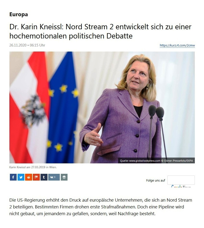 Europa - Dr. Karin Kneissl: Nord Stream 2 entwickelt sich zu einer hochemotionalen politischen Debatte  - RT Deutsch - 26.11.2020