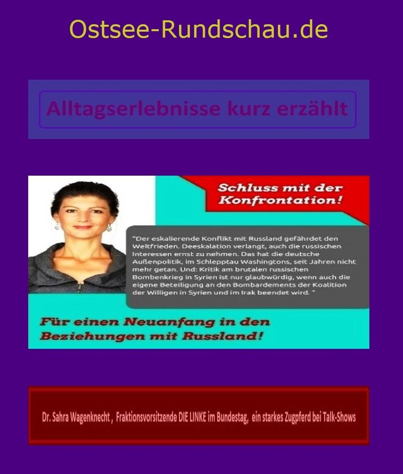 Bundestagsabgeordnete Dr. Sahra Wagenknecht, Fraktionsvorsitzende Die Linke, ein starkes Zugpferd auch bei Talk-Shows - Sahra Wagenknecht am 28.März 2017 in Rostock - Sahra Wagenknecht fordert statt der Konfrontationspolitik Annäherung an Russland und spricht im OZ-Talk auch über Niedriglöhne, Renten und das Kochen  -  Alltagserlebnisse kurz erzählt -  Ostsee-Rundschau.de
