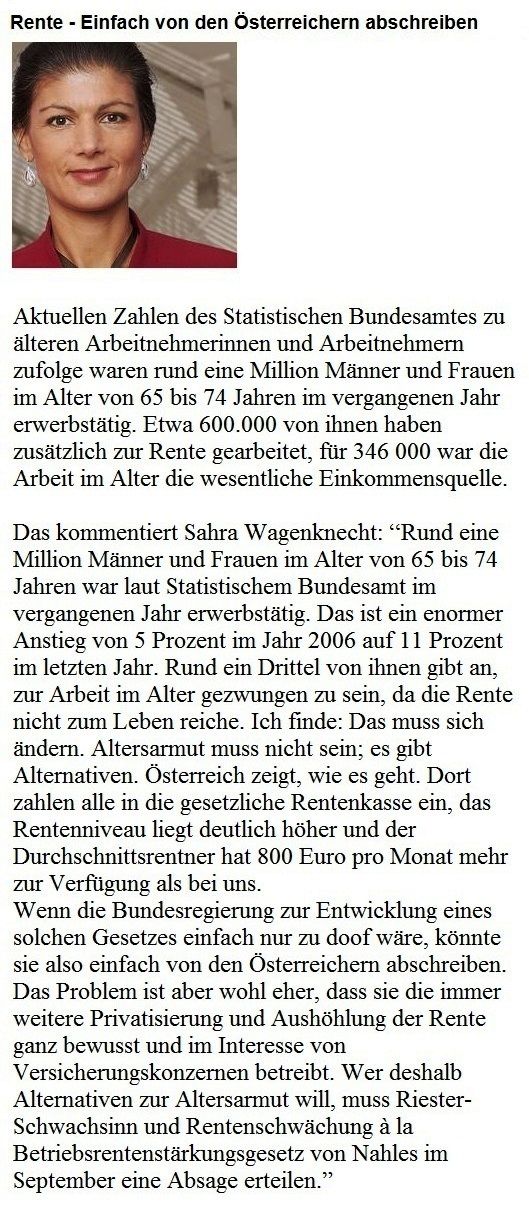 Fraktionsvorsitzende DIE LINKE im Bundestag Dr. Sahra Wagenknecht: Rente - Einfach von den Österreichern abschreiben