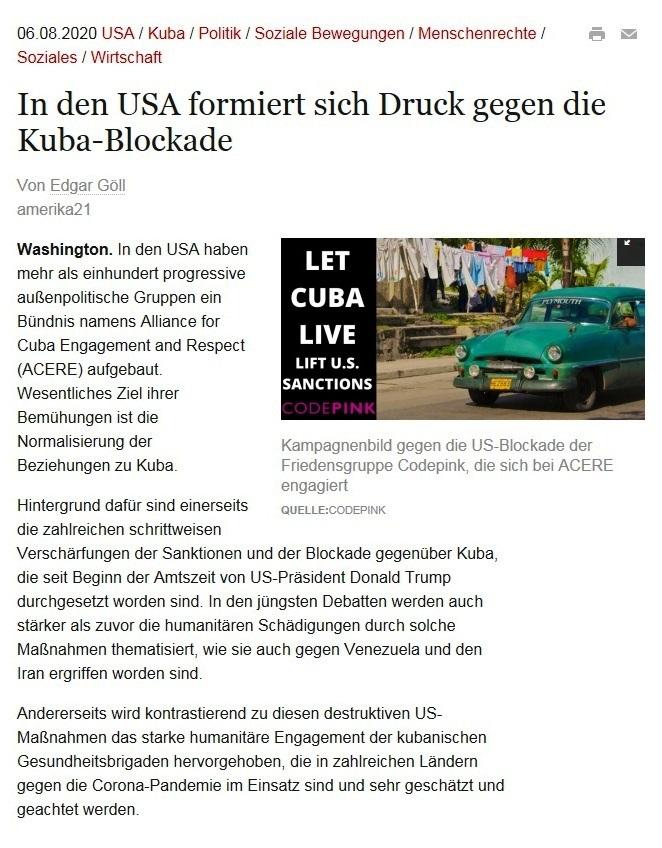 In den USA formiert sich Druck gegen die Kuba-Blockade - amerika21 - Nachrichten und Analysen aus Lateinamerika - 06.08.2020