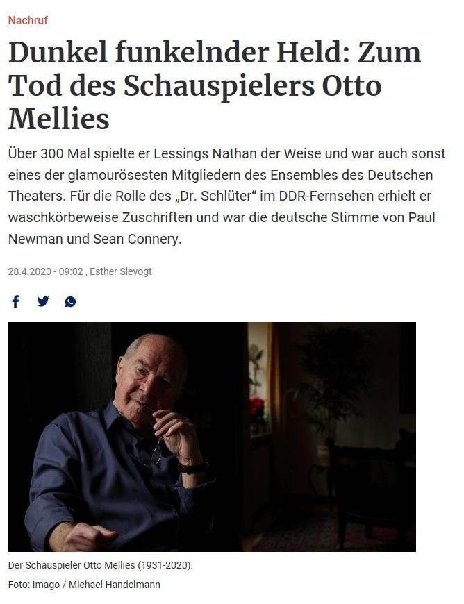 Aus dem Posteingang - Dunkel funkelnder Held: Zum Tod des Schauspielers Otto Mellies  - Berliner Zeitung vom 28.04.2020