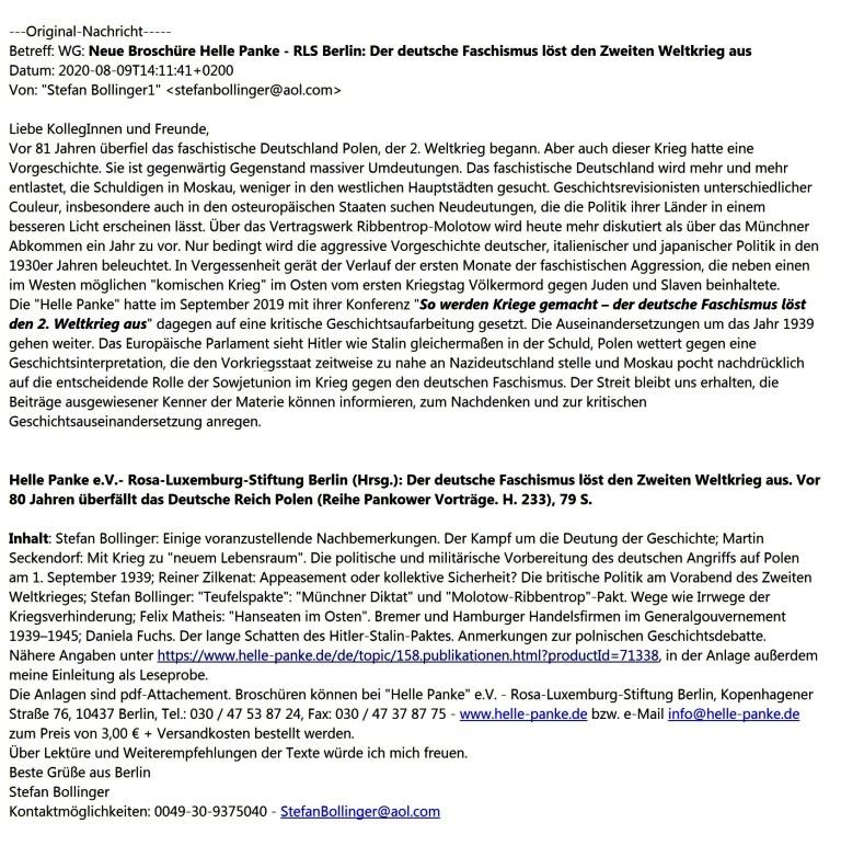 Aus dem Posteingang vom 09.08.2020 - Weitergeleitete Nachricht von Waltraud Tegge -  Pankower Vorträge - Neue Broschüre Helle Panke - RLS Berlin: Der deutsche Faschismus löst den Zweiten Weltkrieg aus