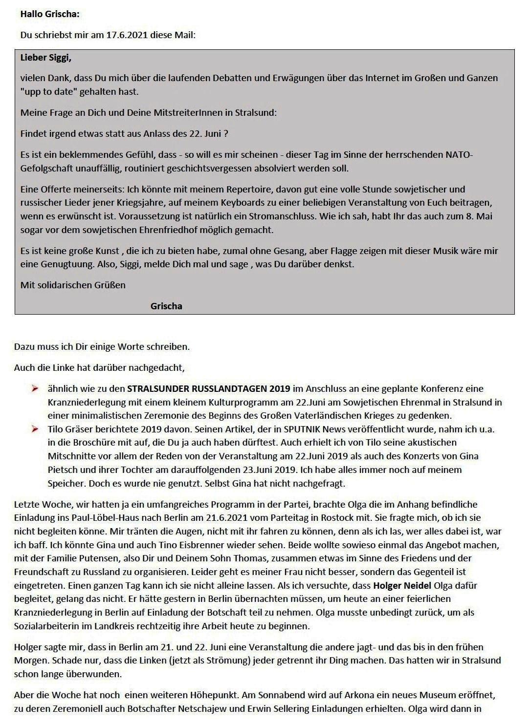 E-Mail an Grischa - Aus dem Posteingang von Siefried Dienel vom 23.06.2021 -  Abschnitt 1