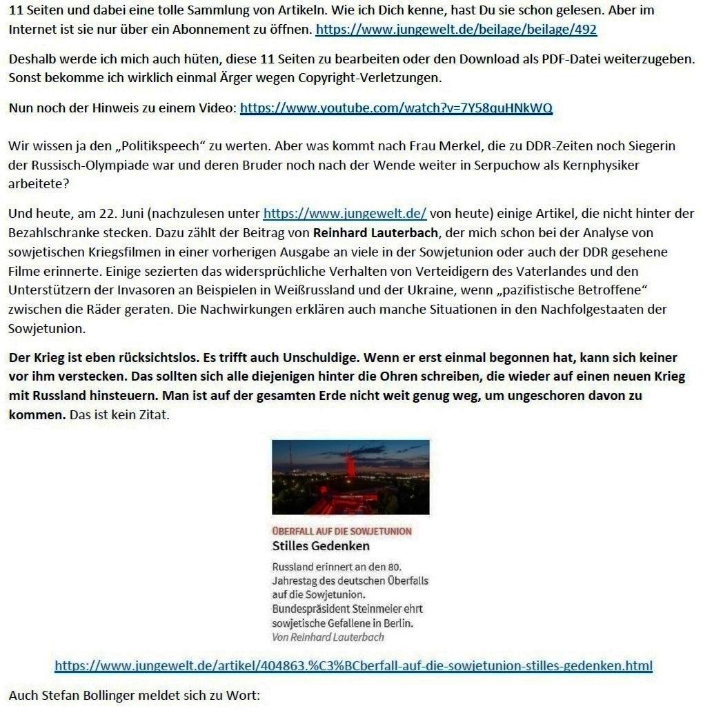 E-Mail an Grischa - Aus dem Posteingang von Siefried Dienel vom 23.06.2021 -  Abschnitt 3