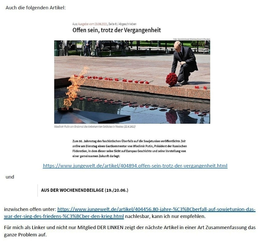 E-Mail an Grischa - Aus dem Posteingang von Siefried Dienel vom 23.06.2021 -  Abschnitt 5
