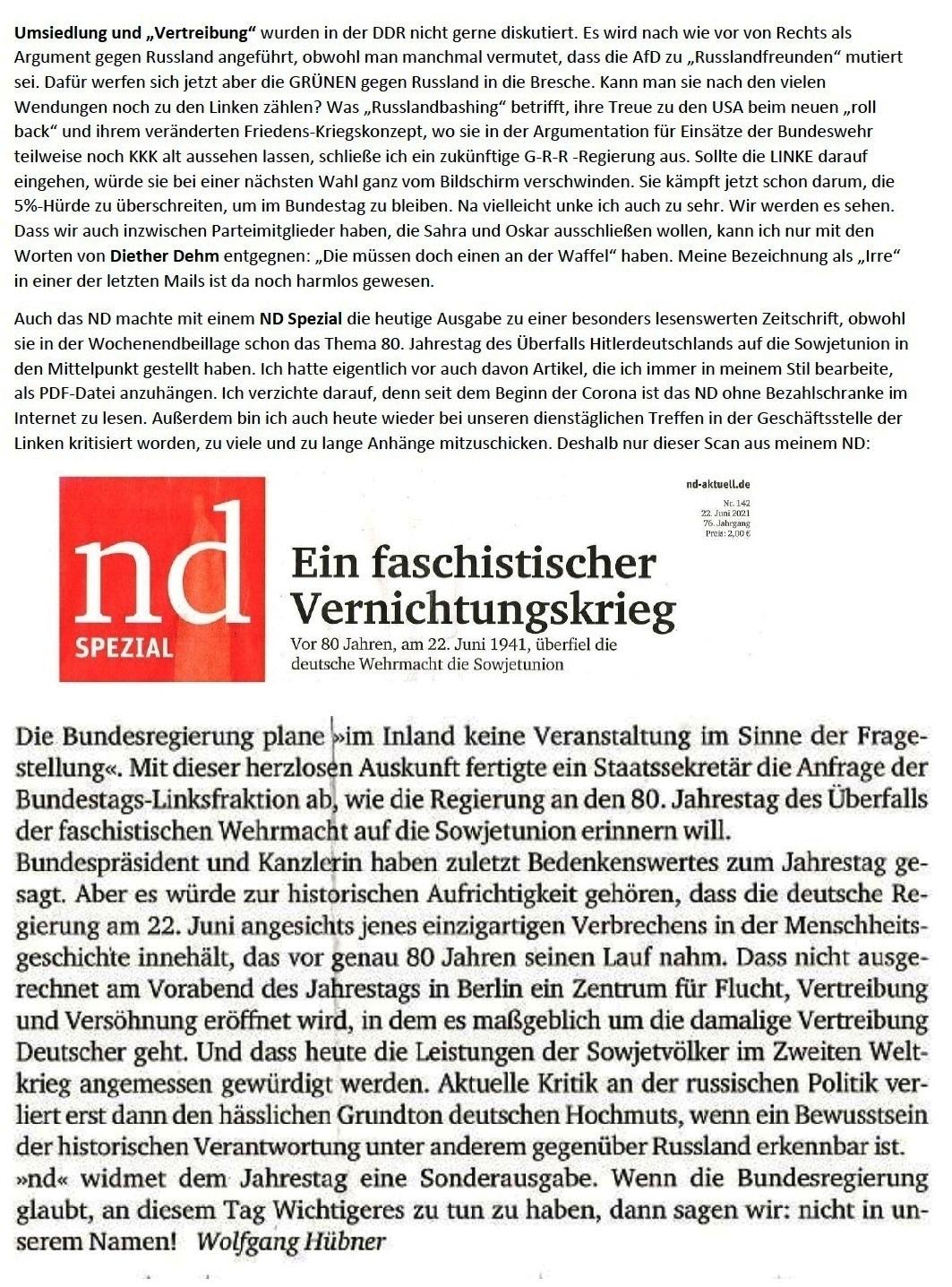 E-Mail an Grischa - Aus dem Posteingang von Siefried Dienel vom 23.06.2021 -  Abschnitt 7