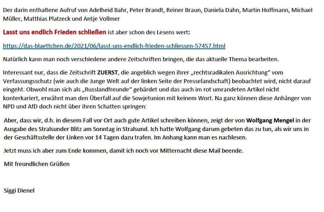 E-Mail an Grischa - Aus dem Posteingang von Siefried Dienel vom 23.06.2021 -  Abschnitt 9
