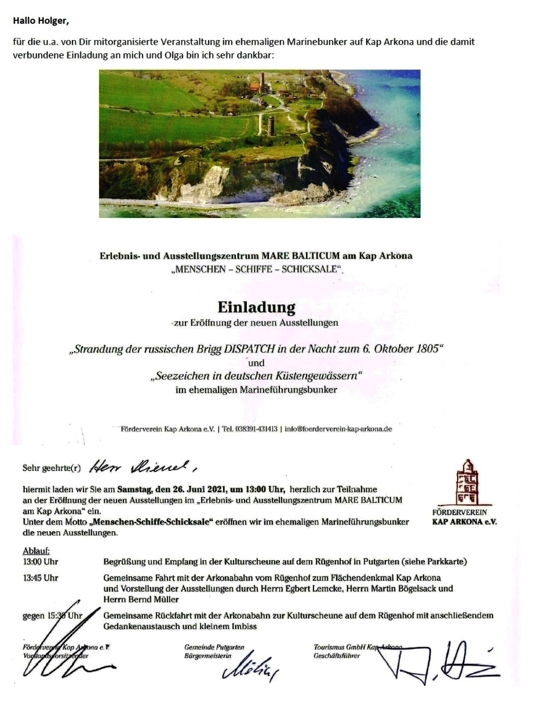 Danke für Arkona - E-Mail an Holger Neidel vom 4.07.2021 - Aus dem Posteingang von Siegfried Dienel vom 5.07.2021 - Abschnitt 1