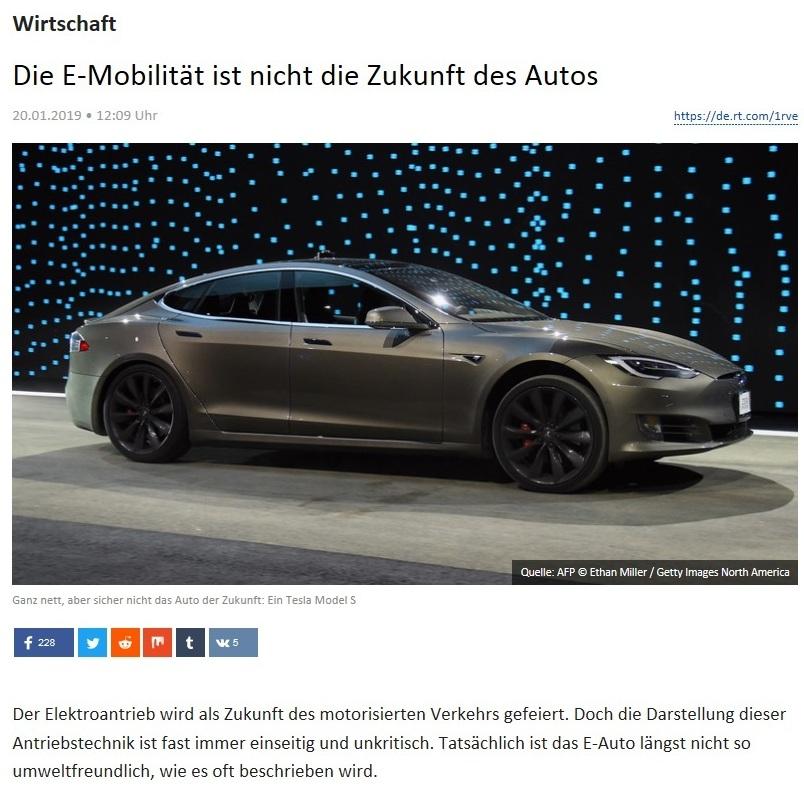 Wirtschaft - Die E-Mobilität ist nicht die Zukunft des Autos