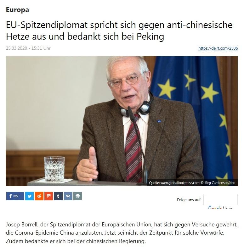 Europa - EU-Spitzendiplomat spricht sich gegen anti-chinesische Hetze aus und bedankt sich bei Peking  - RT Deutsch - 25.03.2020