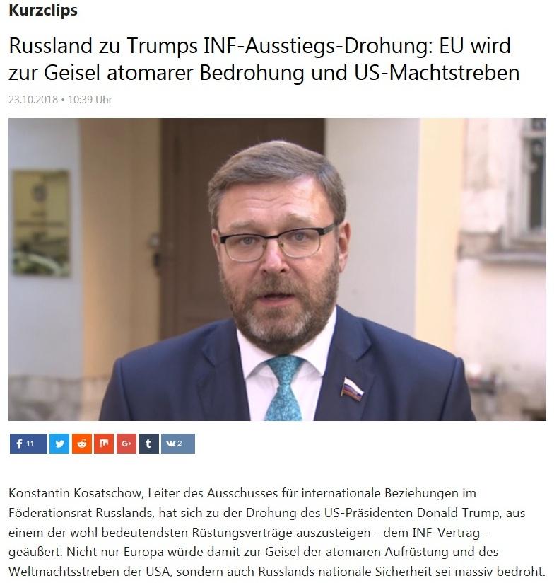 Kurzclips - Russland zu Trumps INF-Ausstiegs-Drohung: EU wird zur Geisel atomarer Bedrohung und US-Machtstreben