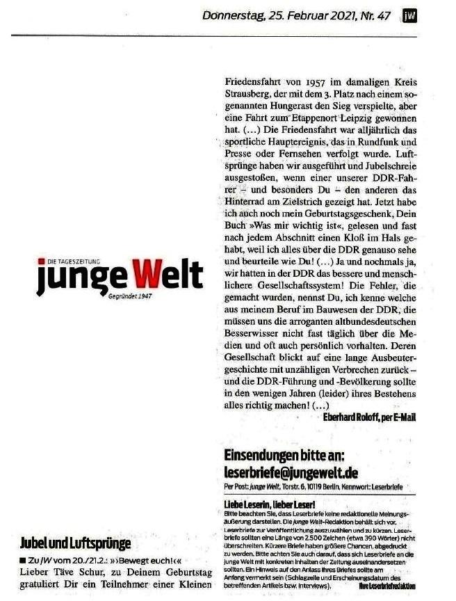 Jubel und Luftsprünge - Leserbrief zu JW vom 20./21.2.: 'Bewegt euch!' - Von Eberhard Roloff, per E-Mail - JW 25.02.2021 - Aus dem Posteingang von Siegfried Dienel vom 25.02.2021