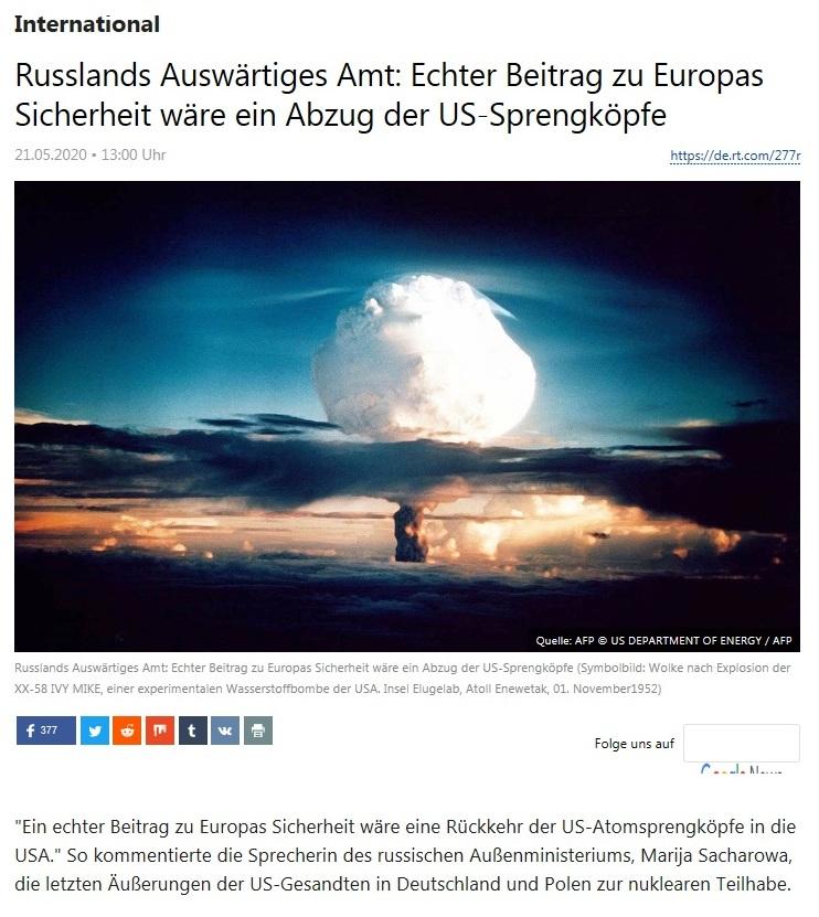 International - Russlands Auswärtiges Amt: Echter Beitrag zu Europas Sicherheit wäre ein Abzug der US-Sprengköpfe - RT Deutsch - 21.05.2020
