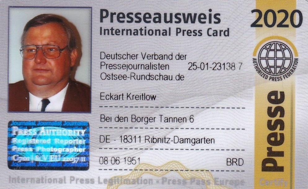 Eckart Kreitlow - Mitglieds-Ausweis für 2020 des Deutschen Verbandes der Pressejournalisten - Internationaler Presseausweis wird jährlich aktualisiert