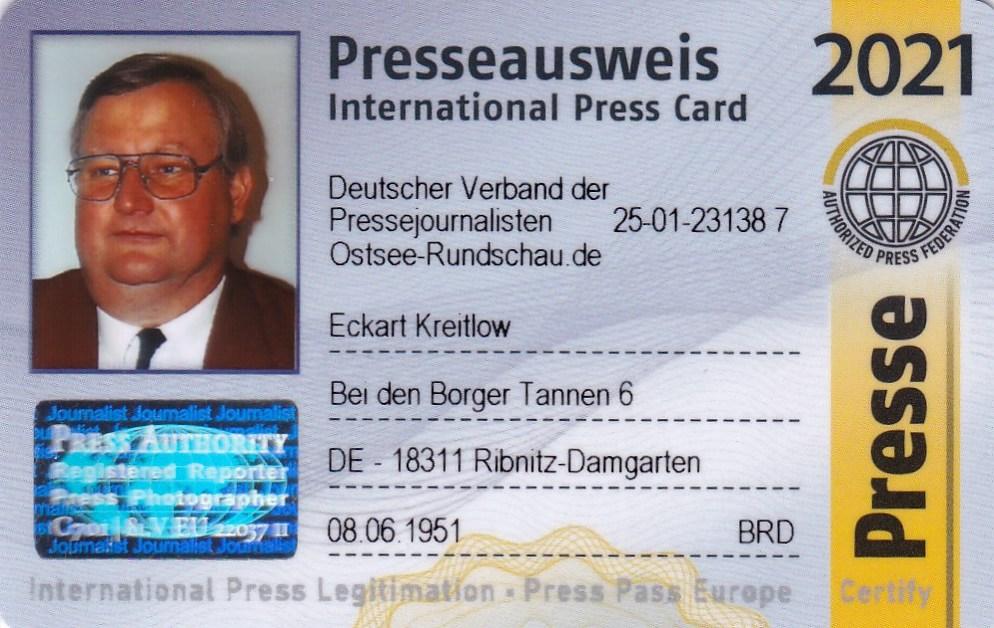 Eckart Kreitlow - Mitglieds-Ausweis für 2021 des Deutschen Verbandes der Pressejournalisten - Internationaler Presseausweis wird jährlich aktualisiert