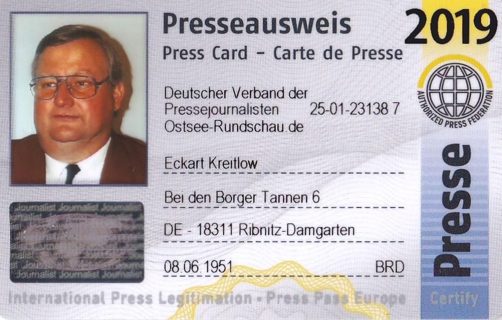 Eckart Kreitlow - Mitglieds-Ausweis des Deutschen Verbandes der Pressejournalisten - Internationaler Presseausweis wird jährlich aktualisiert