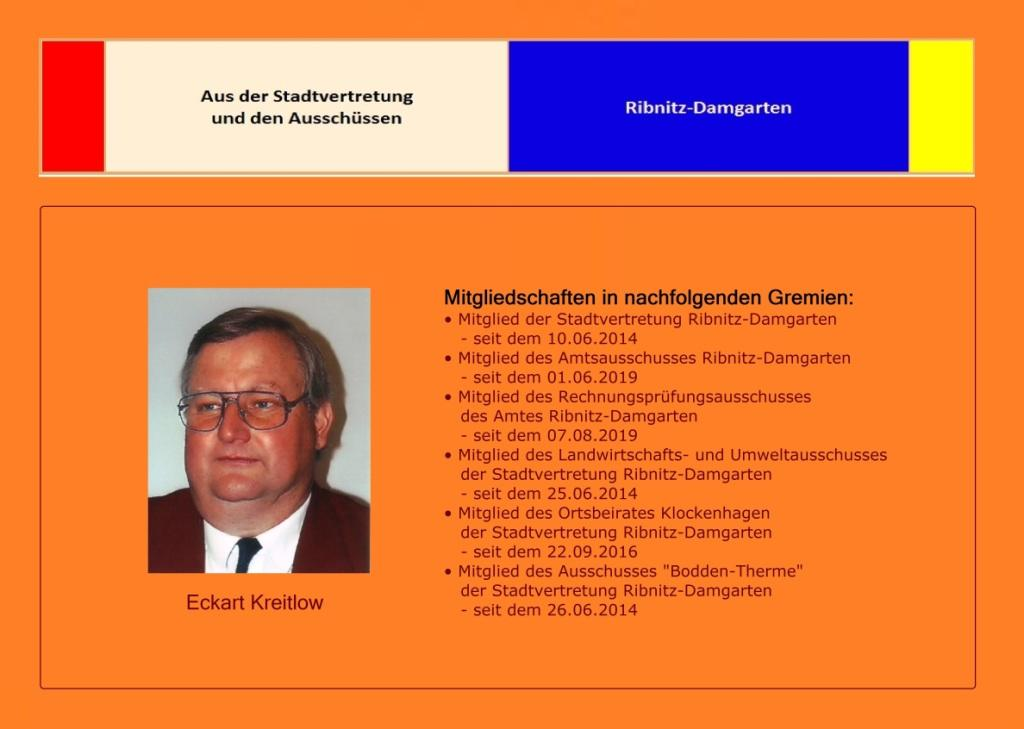 Aus der Stadtvertretung Ribnitz-Damgarten und den Ausschüssen - Eckart Kreitlow - Mitgliedschaften in Gremien