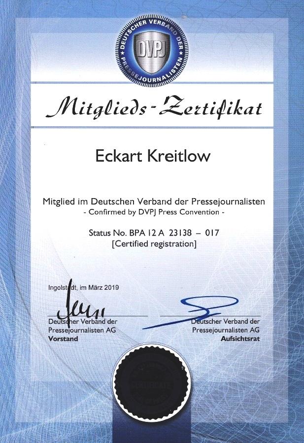Eckart Kreitlow - Mitglieds-Zertifikat Deutscher Verband der Pressejournalisten