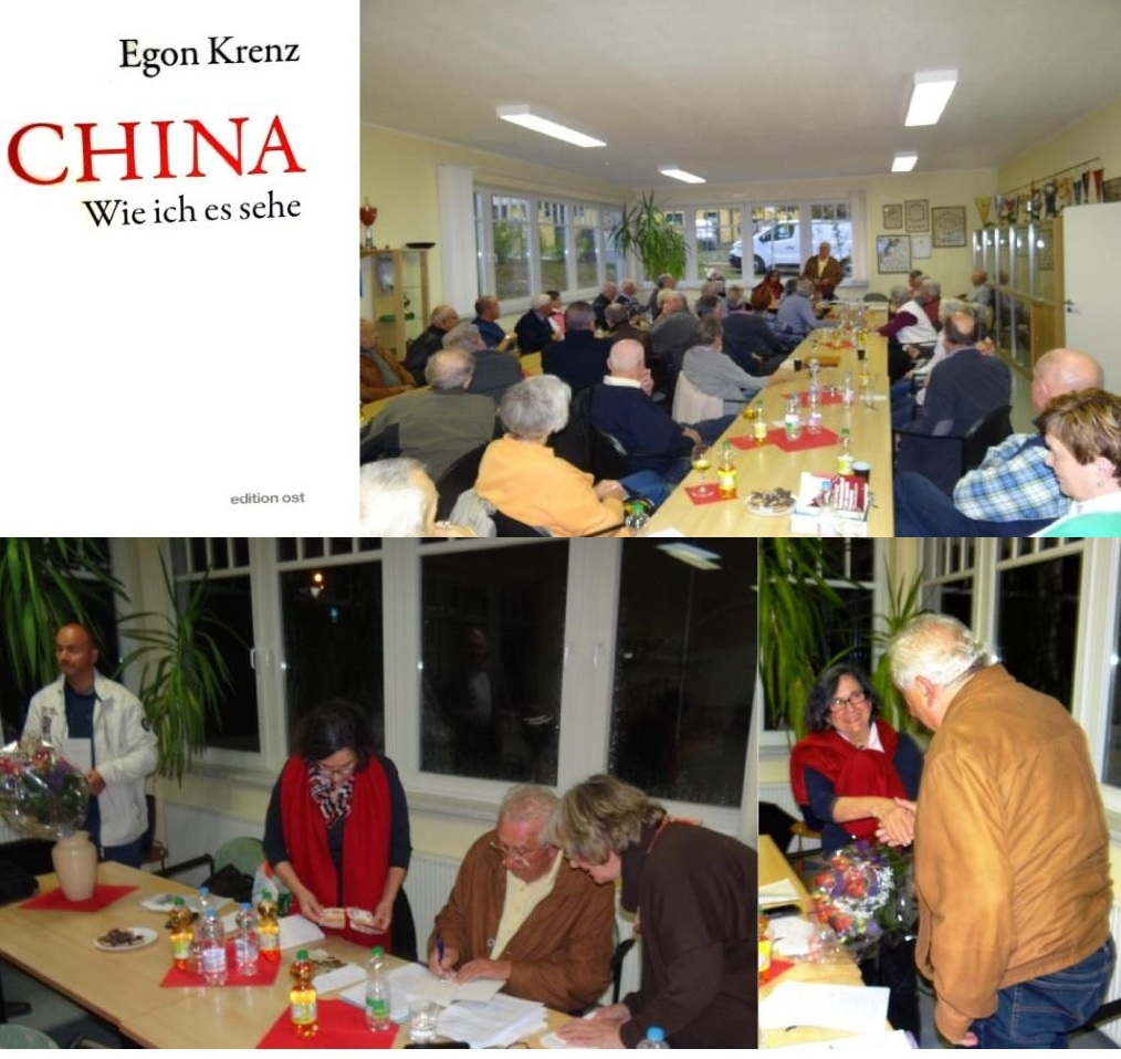 Buchlesung mit Egon Krenz zu seinem neuesten Buch 'CHINA. Wie ich es sehe' - Gemeinsame Veranstaltung der VVN BdA der Hansestadt Stralsund und des Heimat- und Bildungsvereins Ribnitz-Damgarten e. V. am 2. Oktober 2018 im Vereinsraum am Sportplatz 'Stadion am Bodden' in Ribnitz-Damgarten. Fotos: Eckart Kreitlow