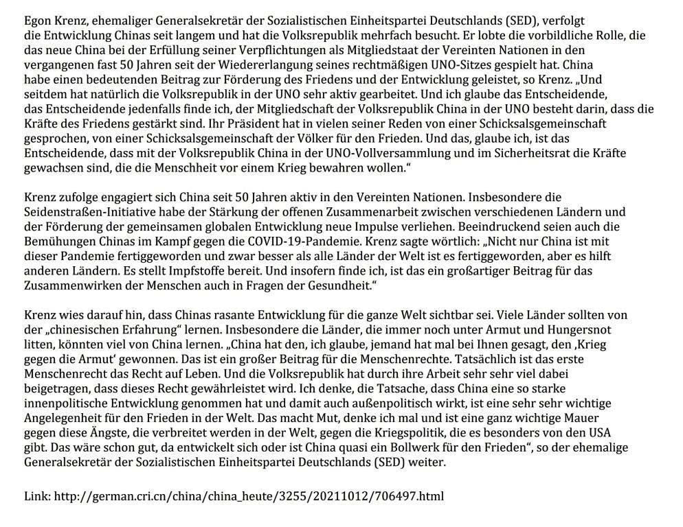 Egon Krenz: China trägt zu Förderung von Frieden und Entwicklung bei - 12.10.2021 09:00:00 - CRI online Deutsch - Link: http://german.cri.cn/china/china_heute/3255/20211012/706497.html