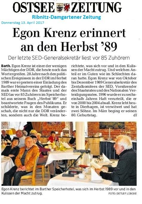 OZ-Beitrag vom 13.04.2017 zur Veranstaltung des Heimatvereins Barth mit Egon Krenz am 12.März 2017 in Barth.